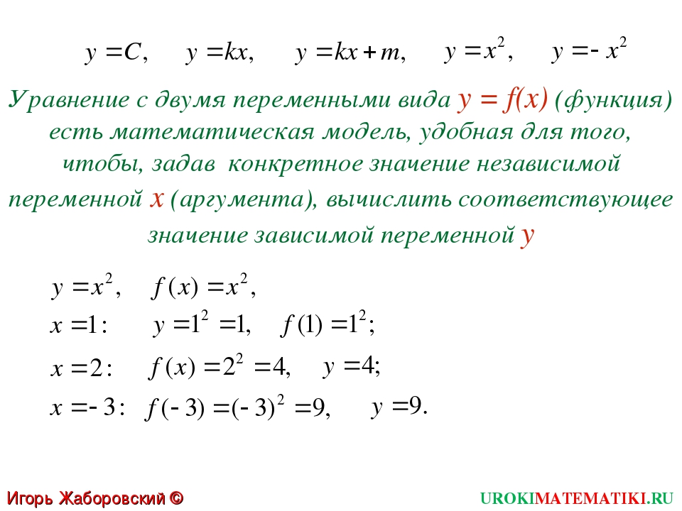 Уравнение с двумя переменными вида у = f(x) (функция) есть математическая мод...