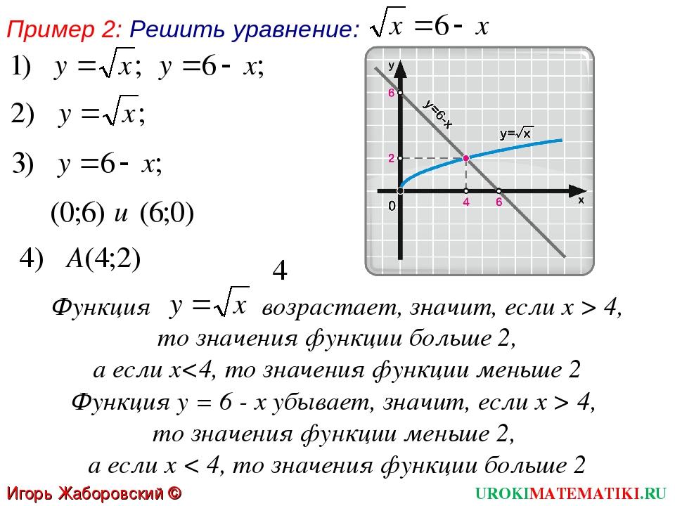 Пример 2: Решить уравнение: Функция возрастает, значит, если х > 4, то значен...