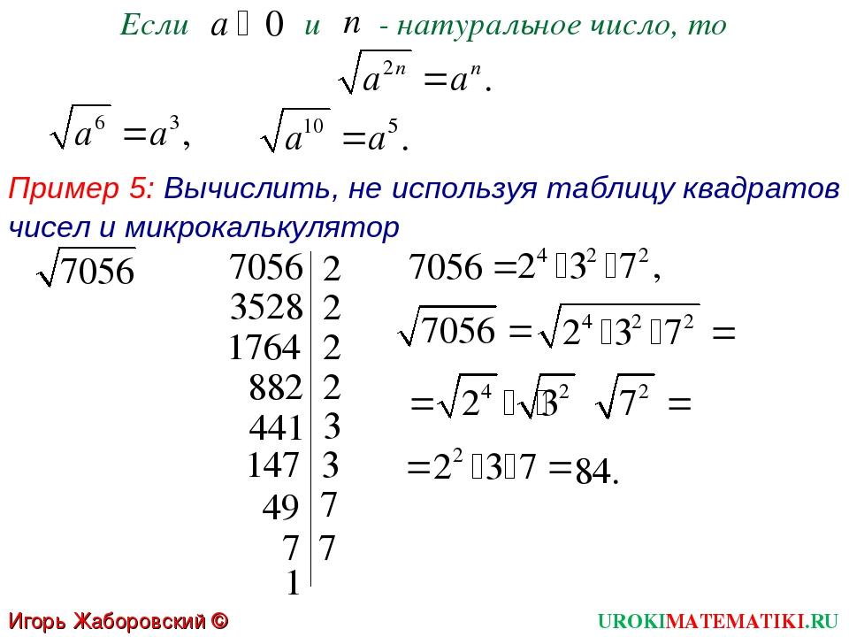 Если и - натуральное число, то Пример 5: Вычислить, не используя таблицу квад...