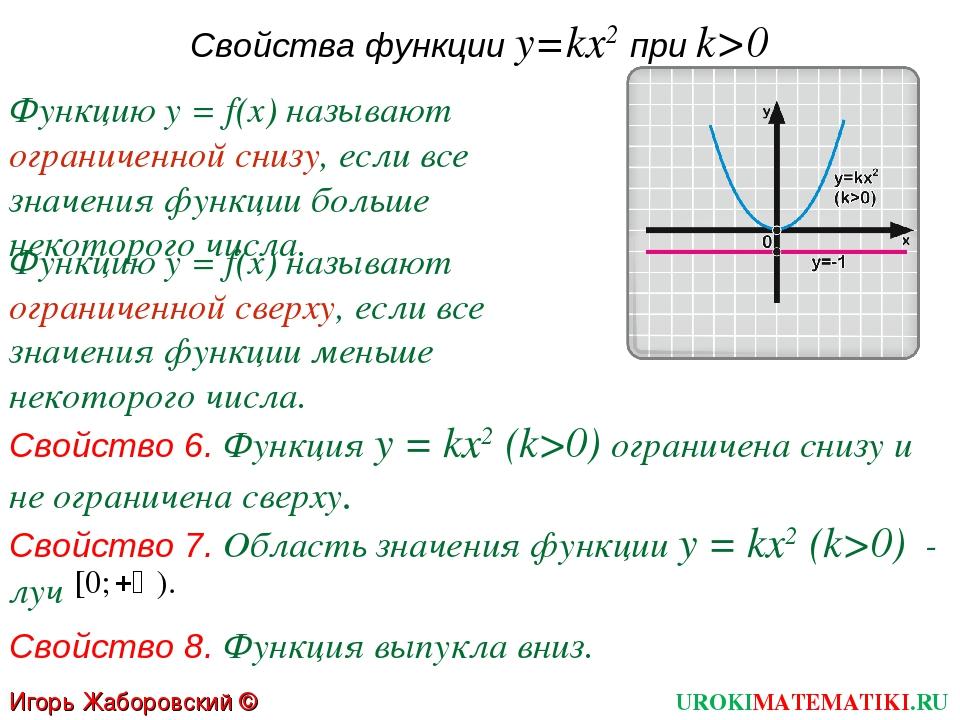 Свойства функции y=kx2 при k>0 Свойство 6. Функция у = kx2 (k>0) ограничена с...