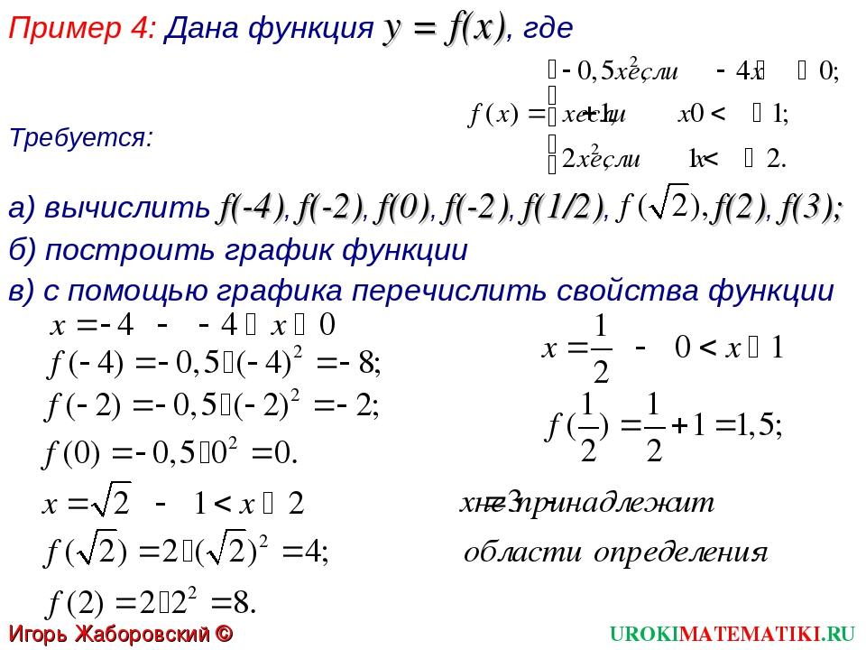 Пример 4: Дана функция y = f(x), где Требуется: а) вычислить f(-4), f(-2), f(...