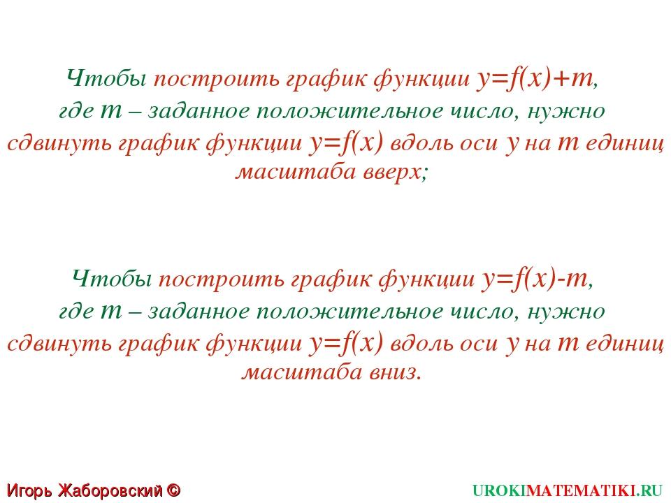 Чтобы построить график функции y=f(x)+m, где m – заданное положительное число...