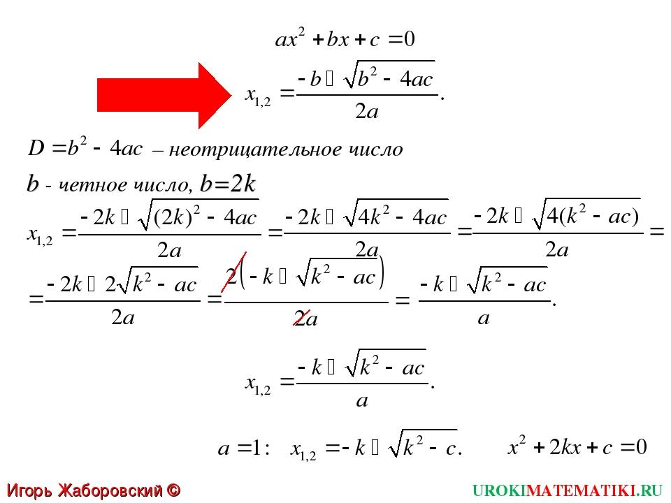 – неотрицательное число b - четное число, b=2k UROKIMATEMATIKI.RU Игорь Жабор...