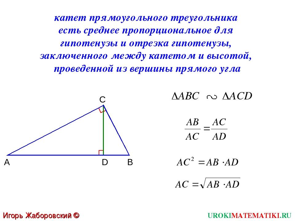 UROKIMATEMATIKI.RU Игорь Жаборовский © 2012 катет прямоугольного треугольника...