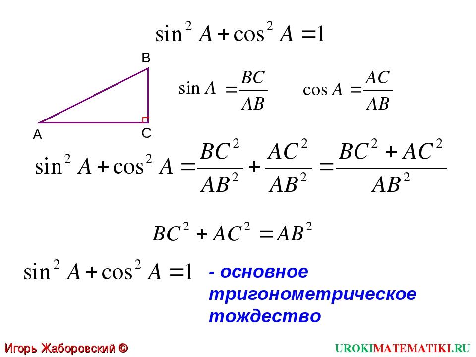 UROKIMATEMATIKI.RU Игорь Жаборовский © 2012 - основное тригонометрическое тож...