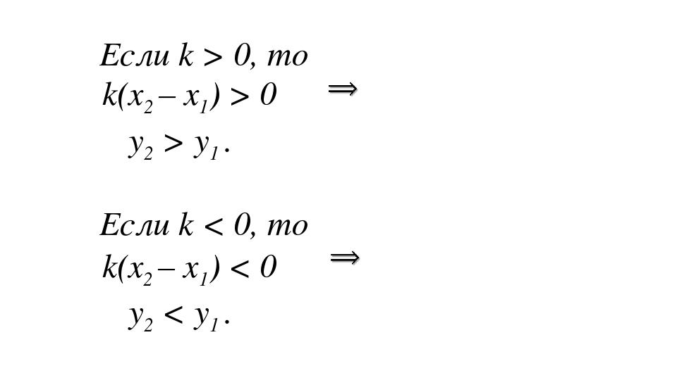 Если k > 0, то k(x2 – x1) > 0 y2 > y1 . При k > 0 функция y = kx + b является...