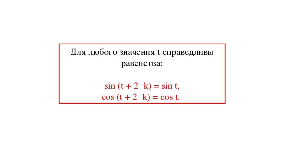 Для любого значения t справедливы равенства: sin (t + 2πk) = sin t, cos (t +...