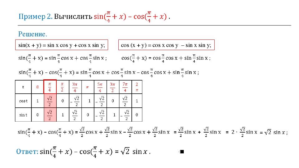 Решение. sin(x + y) = sin x cos y + cos x sin y; cos (x + y) = cos x cos y –...