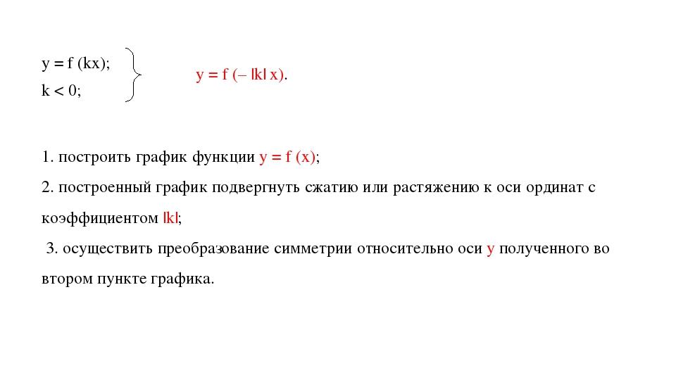 k < 0; y = f (kx); y = f (– |k| x). ⟹ 1. построить график функции у = f (x);...