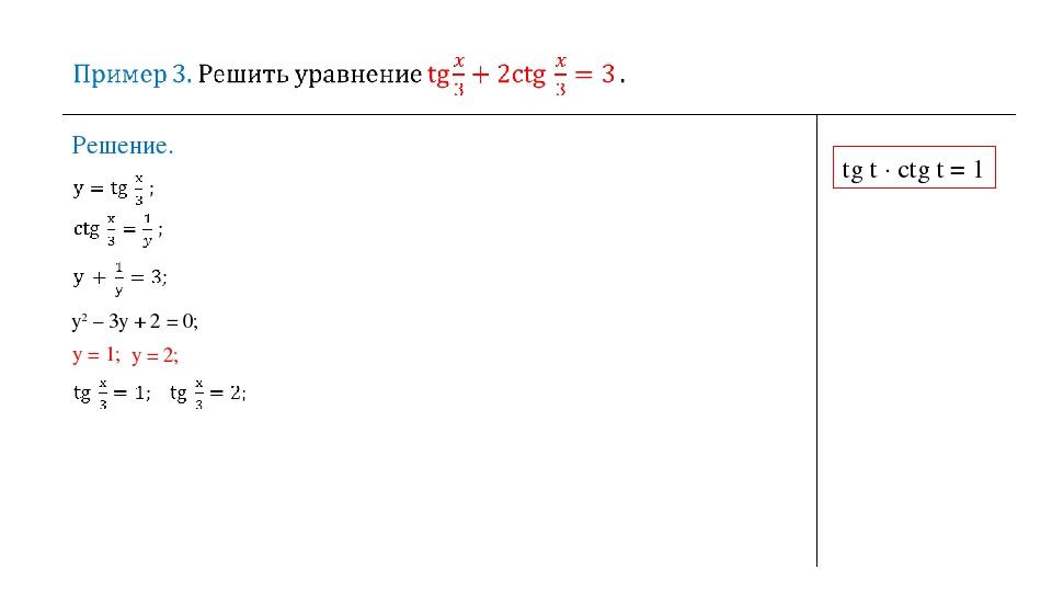 Решение. tg t ∙ сtg t = 1 у2 – 3у + 2 = 0; y = 1; y = 2;