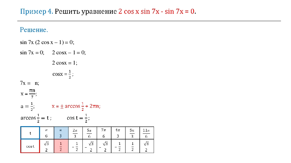 ⟹ 7х = πn; Решение. sin 7x (2 cos х – 1) = 0; sin 7x = 0; 2 cosх – 1 = 0; 2 c...