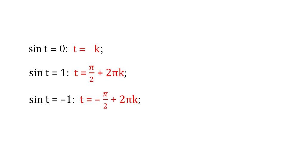 sin t = 0: t = πk;