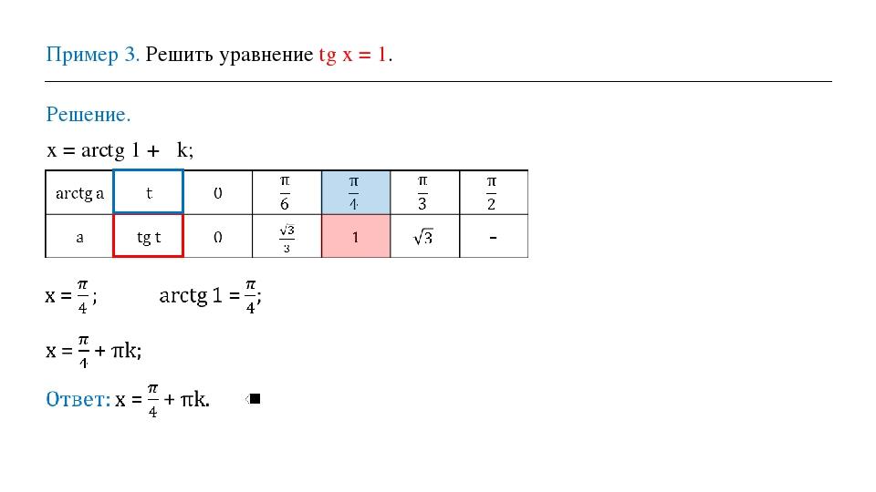 Пример 3. Решить уравнение tg х = 1. Решение. х = arctg 1 + πk; ⟹