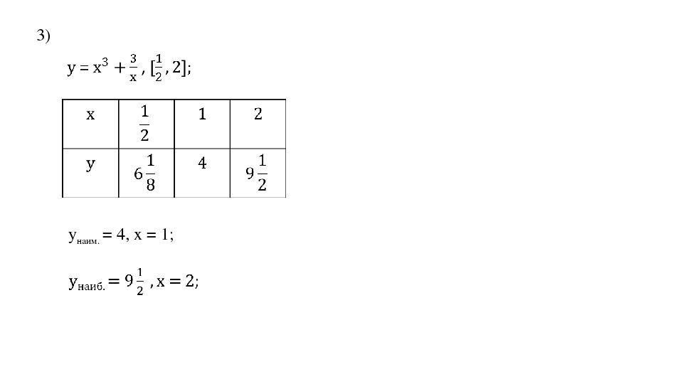 3) yнаим. = 4, х = 1;