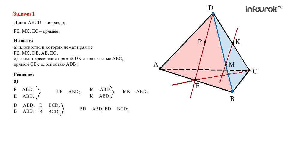 A C B D K M P E Задача 1 Дано: ABCD – тетраэдр; Назвать: PE, MK, EC – прямые;...