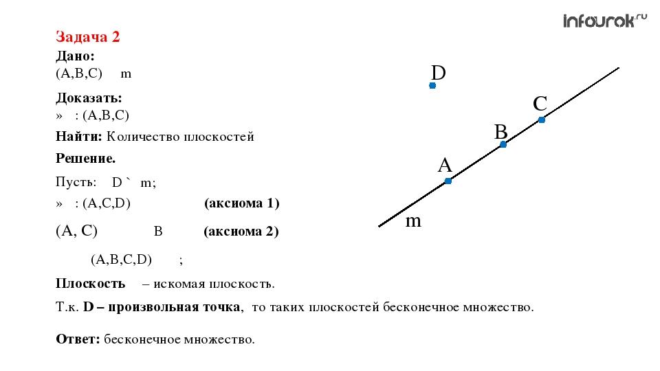 Дано: (A,B,C) ∊ m Задача 2 Доказать: ∃α: (A,B,С) ∊ α Решение. A B C D m Пусть...