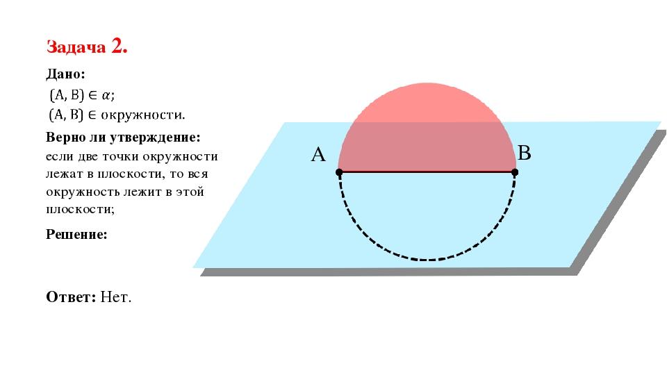 если две точки окружности лежат в плоскости, то вся окружность лежит в этой п...