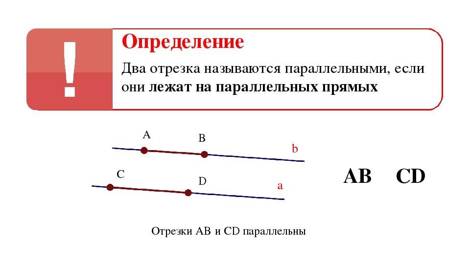 Определение Два отрезка называются параллельными, если они лежат на параллель...