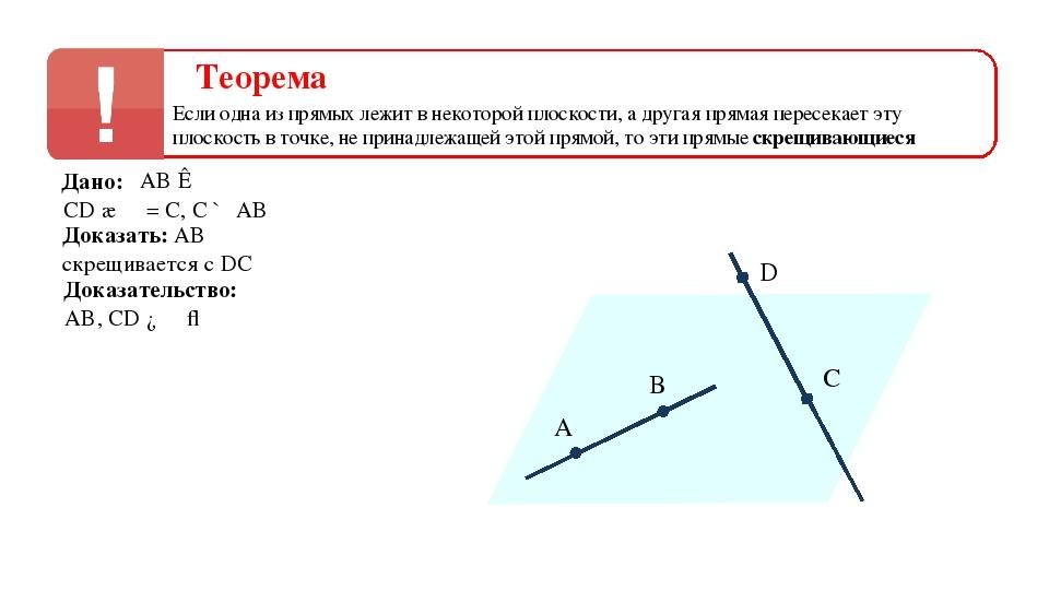 Теорема Если одна из прямых лежит в некоторой плоскости, а другая прямая пере...