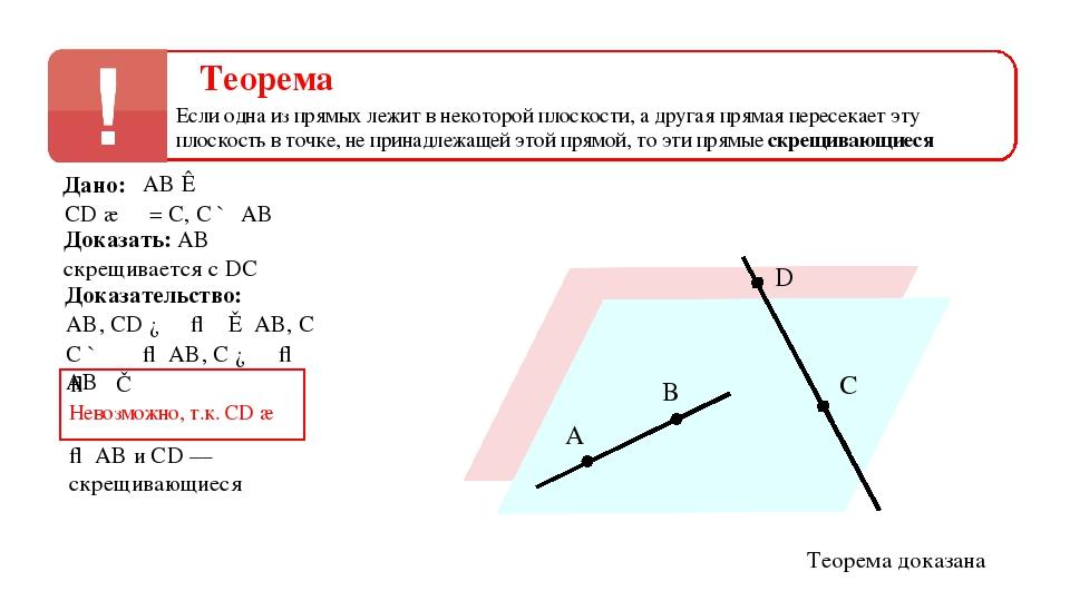 A B α C D β Дано: CD ∩ α = C, C ∉ AB AB ⊂ α Доказать: AB скрещивается с DC До...