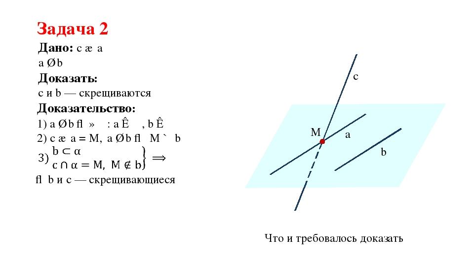 Задача 2 M a b c α Что и требовалось доказать Дано: c ∩ a a ∥ b Доказать: с и...