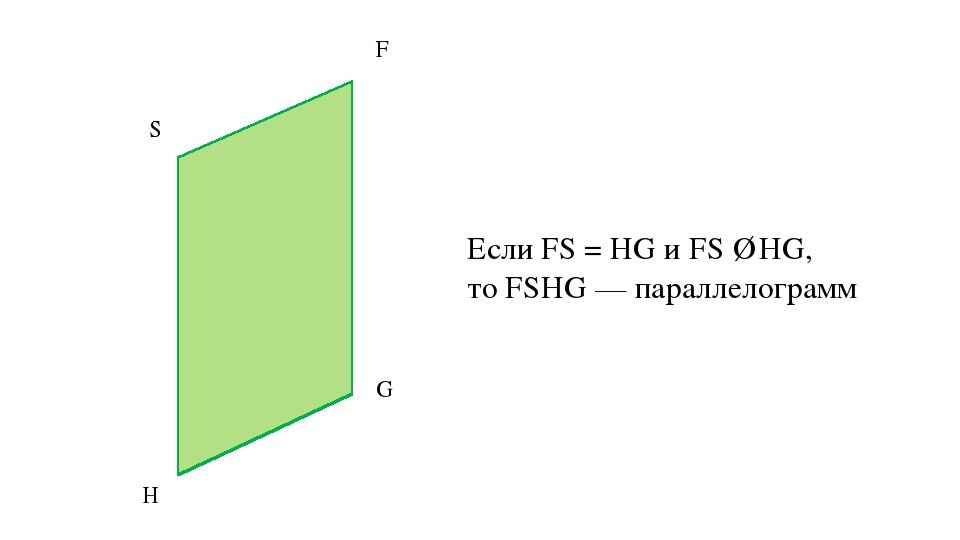 Если FS = HG и FS ∥ HG, то FSHG — параллелограмм F S H G
