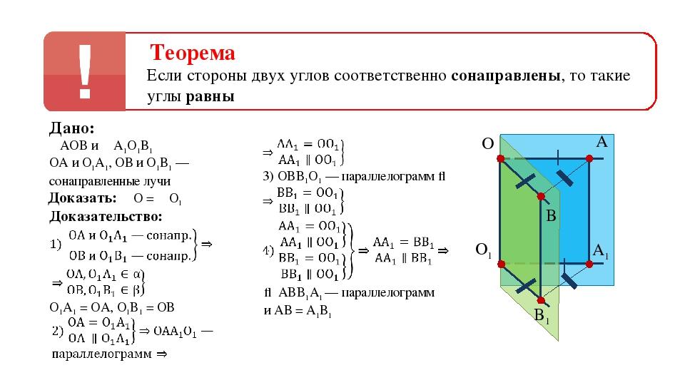 Теорема Если стороны двух углов соответственно сонаправлены, то такие углы ра...