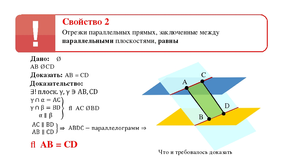 Свойство 2 Отрезки параллельных прямых, заключенные между параллельными плоск...
