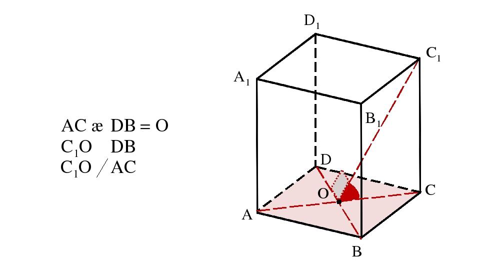 A B D A1 B1 C1 D1 AC ∩ DВ = O C1O ⏊ DB C C1O ⏊ AC O