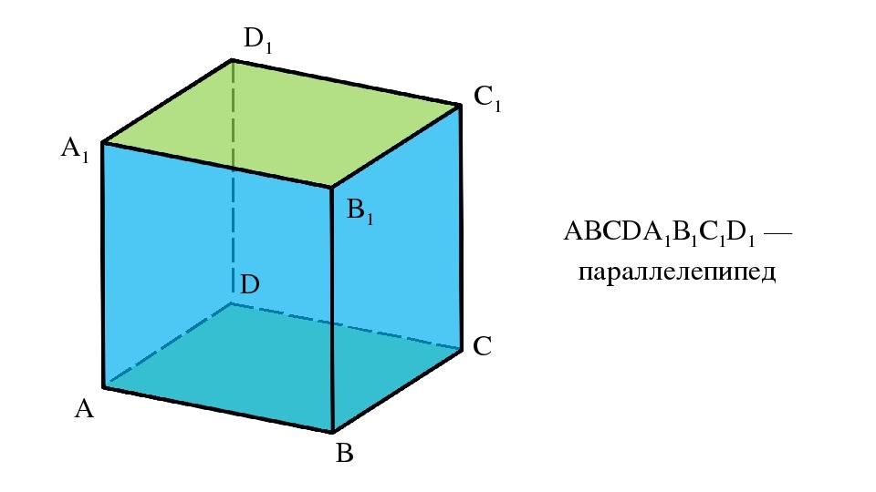 A D C B A1 D1 C1 B1 АВСDА1В1С1D1 — параллелепипед