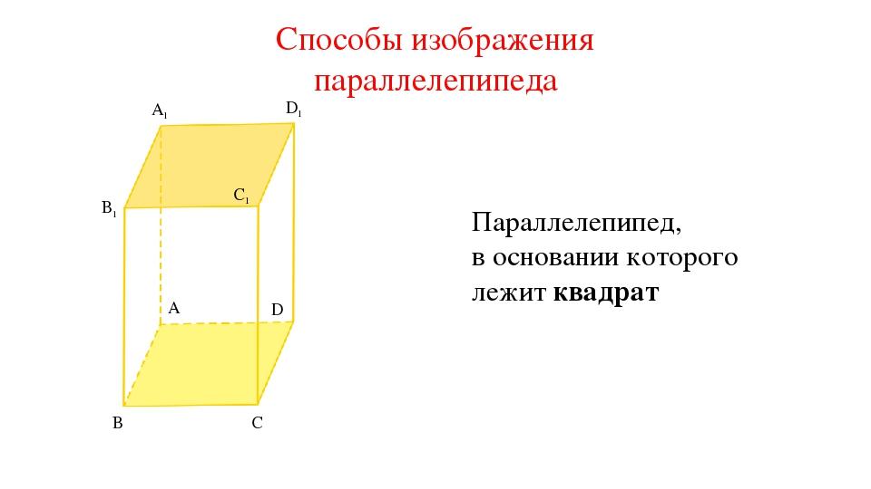A1 B1 C1 B C A D D1 Параллелепипед, в основании которого лежит квадрат Способ...