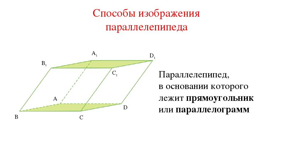 A1 D1 B1 C1 A D C B Параллелепипед, в основании которого лежит прямоугольник...
