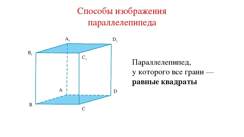 A1 B1 C1 D1 A D C B Способы изображения параллелепипеда Параллелепипед, у кот...