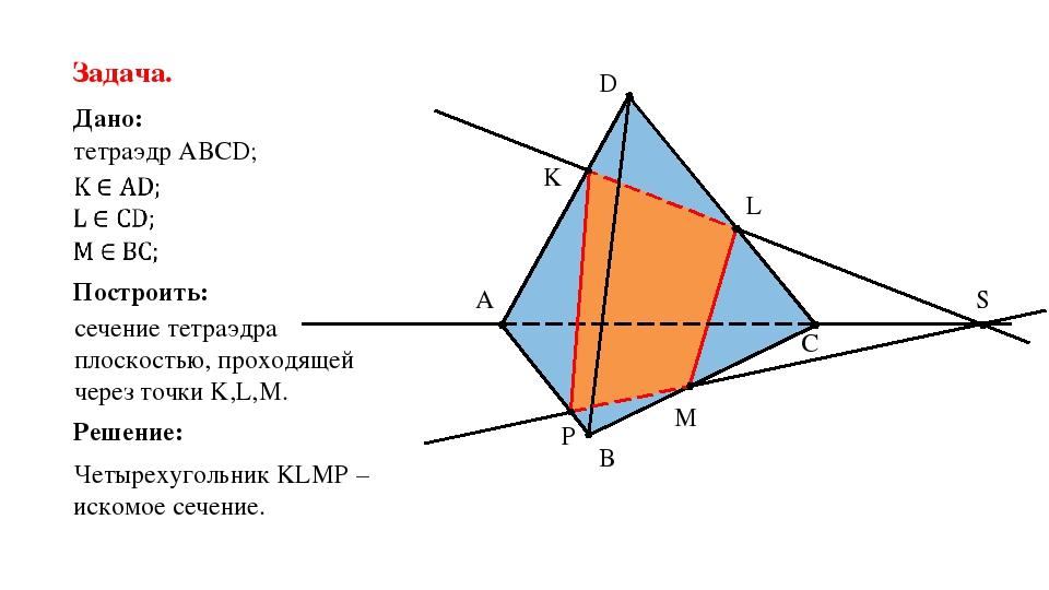 C B A D K L M S P Задача. Дано: тетраэдр АВСD; Построить: сечение тетраэдра п...