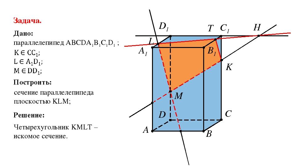 C D B1 C1 D1 A1 A B H K T L M Задача. Дано: параллелепипед АВСDA1B1C1D1 ; Пос...