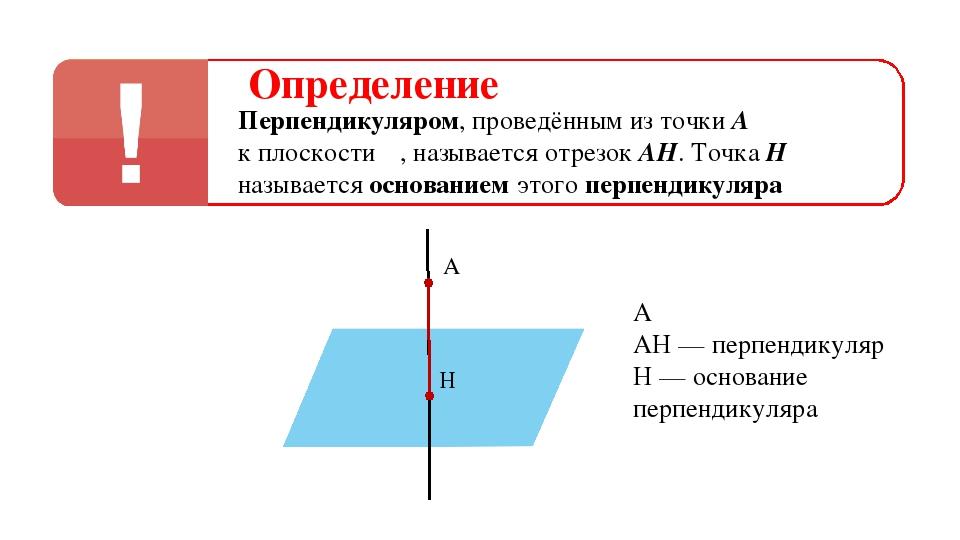 Определение Перпендикуляром, проведённым из точки А к плоскости α, называется...