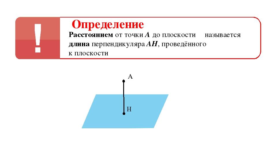 Определение Расстоянием от точки А до плоскости α называется длина перпендику...
