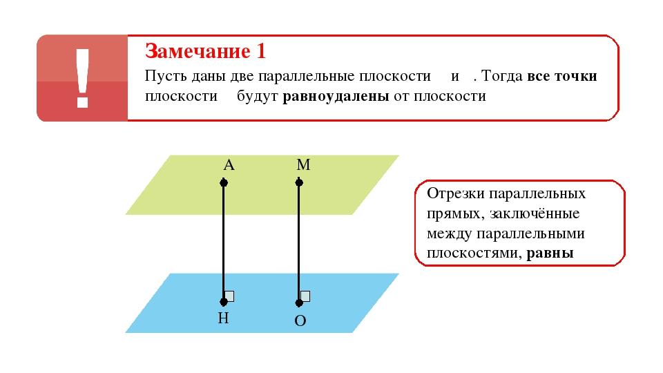 Замечание 1 Пусть даны две параллельные плоскости α и β. Тогда все точки плос...