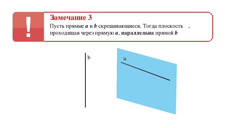 Замечание 3 Пусть прямые а и b скрещивающиеся. Тогда плоскость α, проходящая...