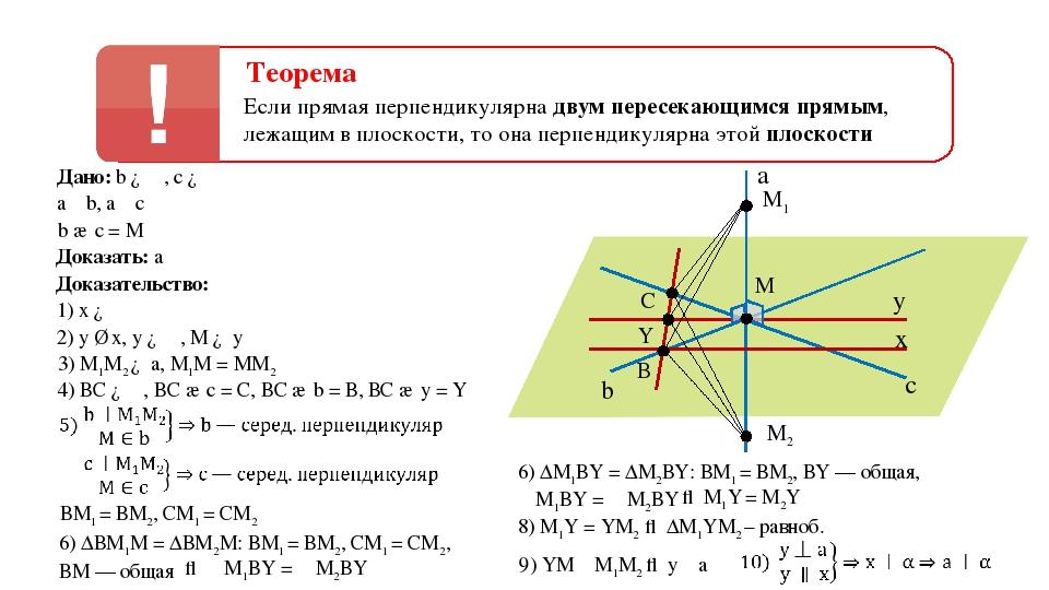 a α c b Доказательство: 1) х ∈ α 2) у ∥ х, у ∈ α, М ∈ у M x у 3) М1М2 ∈ а, М1...