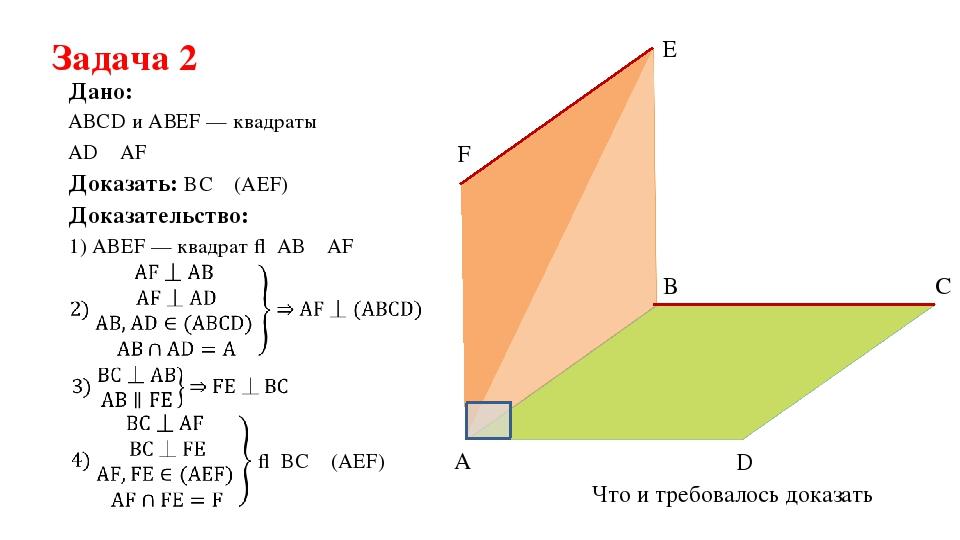 Задача 2 АВСD и АВEF — квадраты Дано: AD ⏊ AF Доказать: BС ⏊ (AEF) Доказатель...