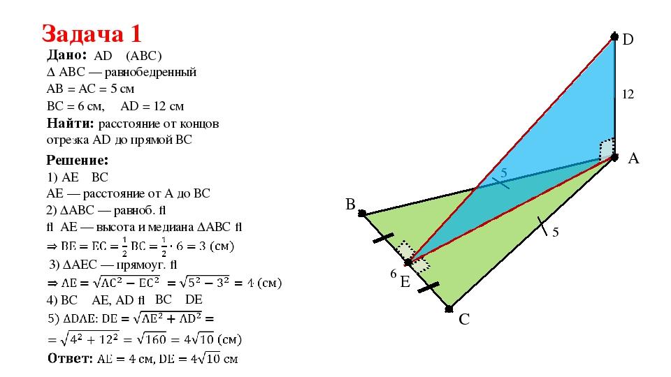 Задача 1 Дано: ∆ ABC — равнобедренный AD ⏊ (ABC) A C B AB = АC = 5 см 5 ВС =...