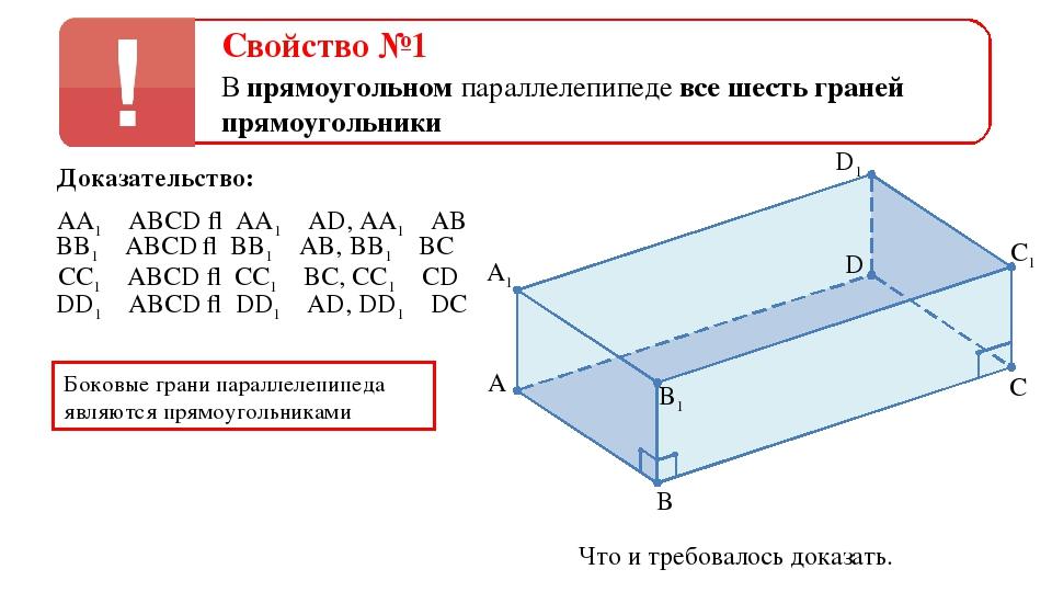 Свойство №1 В прямоугольном параллелепипеде все шесть граней прямоугольники Д...
