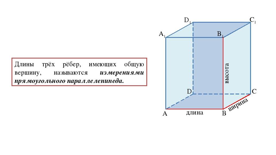 Длины трёх рёбер, имеющих общую вершину, называются измерениями прямоугольног...