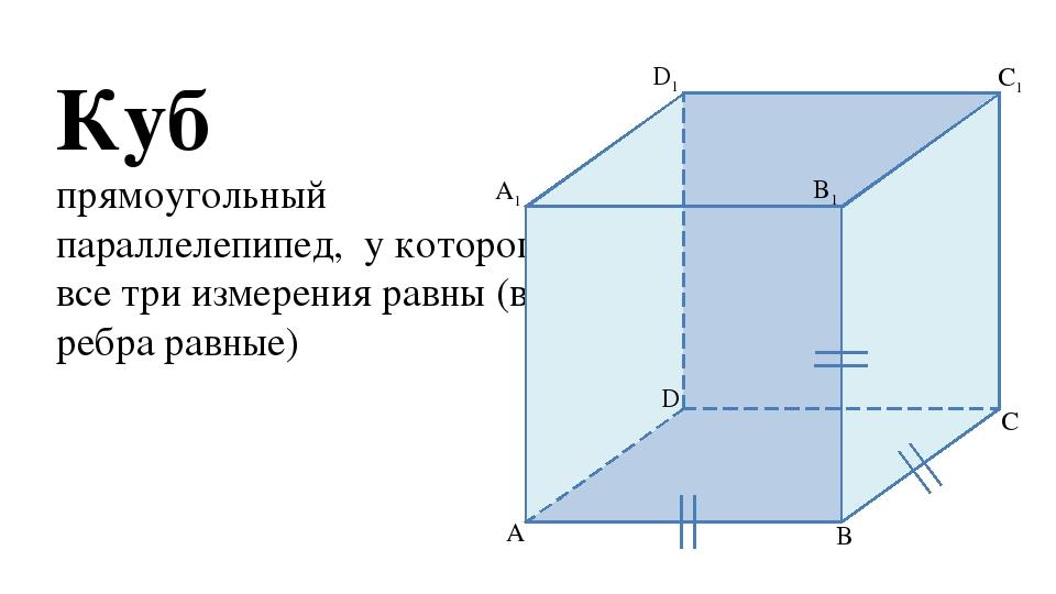 Куб прямоугольный параллелепипед, у которого все три измерения равны (все реб...