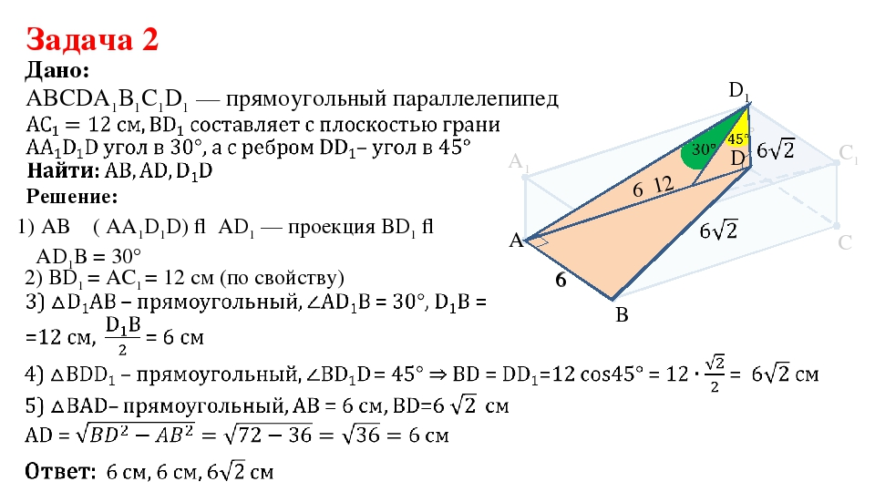 Дано: 2) ВD1 = АС1 = 12 см (по свойству) 1) AB ⏊ ( АА1D1D) ⇒ АD1 — проекция В...