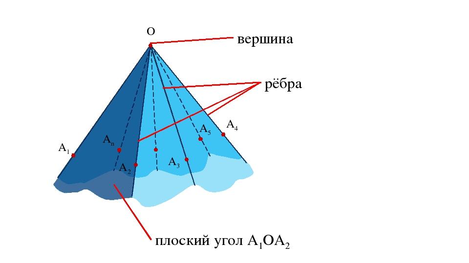 O A1 A2 A3 A4 A5 An плоский угол A1OA2 рёбра вершина