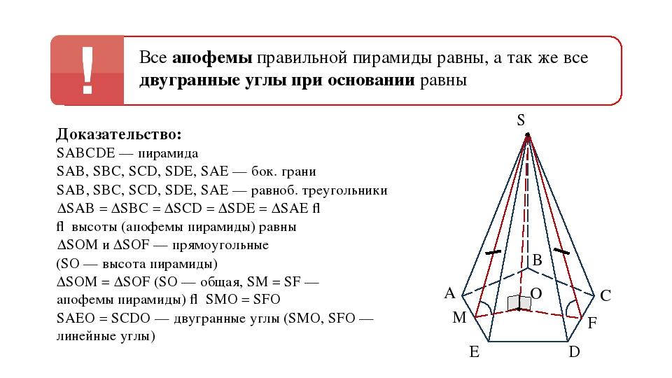 А В С D E S O F M Все апофемы правильной пирамиды равны, а так же все двугран...