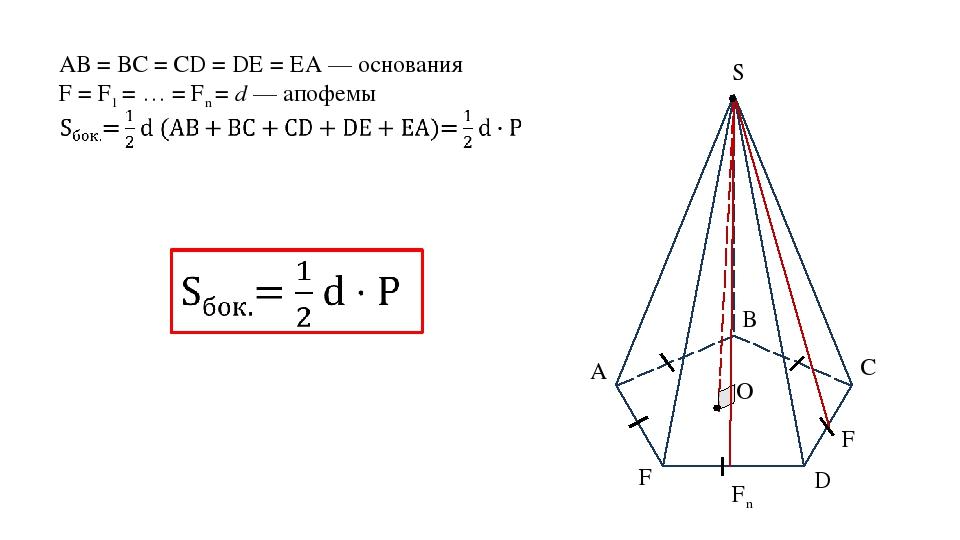 А В С D F S O АВ = ВС = CD = DE = EA — основания F = F1 = … = Fn = d — апофем...