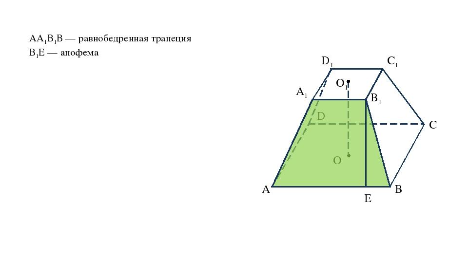 АА1В1В — равнобедренная трапеция В1Е — апофема D O A B C A1 B1 C1 D1 O1 E